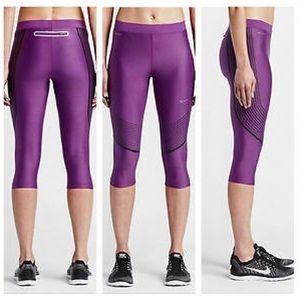 🚚NWT NIKE Running Capri Dri fit Purple crop pants